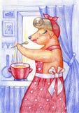 Ours de nounours mignon avec une casserole L'ours prépare le dîner cuisinier illustration stock