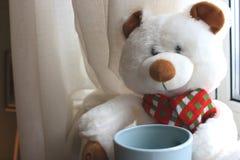 Ours de nounours mignon blanc avec la tasse se reposant sur la fenêtre avec des rideaux Jouet animal mou Concept bonjour Cadeau r Image stock