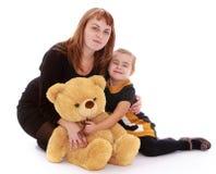 Ours de nounours mignon de maman et de fille, portrait Photographie stock libre de droits
