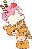 Ours de nounours mignon portant un grand cornet de crème glacée illustration libre de droits