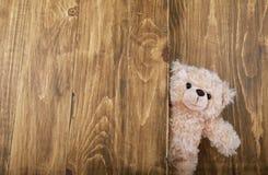 Ours de nounours mignons avec le vieux fond en bois Image stock