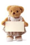 Ours de nounours retenant une carte vierge Photographie stock libre de droits