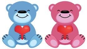 Ours de nounours rose et prise bleue le symbole de coeur dans leurs pattes illustration libre de droits
