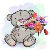 Ours de nounours se reposant avec un bouquet Photos libres de droits