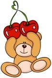 Ours de nounours tenant une cerise d'amour illustration libre de droits