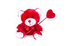Ours de Valentine tenant un coeur sur un bâton Image libre de droits