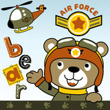 Ours de vecteur le pilote militaire d'hélicoptère Photo stock