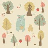 Ours et arbres illustration libre de droits
