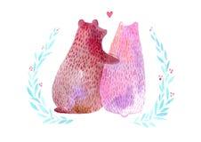 Ours et branches de couples Jour du `s de Valentine Usines et coeur illustration libre de droits