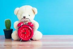 Ours et montre rouge placés sur une table en bois bleue Photo libre de droits