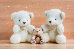 Ours et neige de famille sur un fond en bois Photo libre de droits