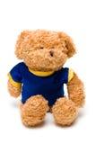 Ours fabriqué à la main de jouet à l'arrière-plan blanc Photo stock
