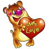 Ours gai avec le coeur. Photo libre de droits