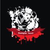 Ours gris sauvage dans un cadre avec un ruban rouge Images libres de droits