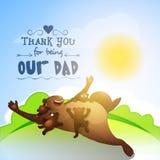 Ours heureux avec CUB pour la célébration du jour de père Photos libres de droits