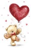Ours mignon avec le grand coeur rouge Conception d'amour Carte postale de jour de valentines illustration de vecteur