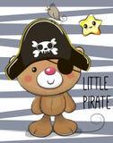 Ours mignon de bande dessinée dans un chapeau de pirate illustration libre de droits