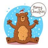 Ours mignon et drôle de Noël Image libre de droits
