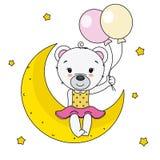 Ours mignon se reposant sur la lune illustration libre de droits