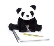 Ours panda avec l'activité d'humain quotidiennement sur le blanc d'isolement image stock