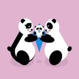 Ours panda de famille avec un bébé nouveau-né Image libre de droits