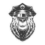 Ours sérieux monochrome dans le chapeau de police illustration stock