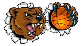 Ours tenant la boule de basket-ball cassant le fond illustration stock