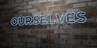 OURSELVES - Glowing Neon Sign on stonework wall - 3D rendered royalty free stock illustration Royalty Free Stock Images