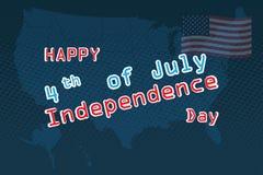Ourth Ιουλίου, ενωμένος δηλωμένος της χαιρετισμόςης ημέρας της ανεξαρτησίας 4 Ιουλίου τυπογραφικό σχέδιο Χρησιμοποιήσιμος για τις απεικόνιση αποθεμάτων