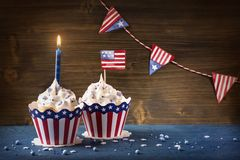 Ourth van Juli Cupcakes stock afbeelding