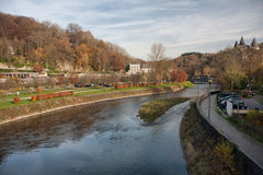 Ourthe River in Durbuy Stock Images