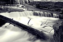 Ousel Falls. Black and white long exposure of Ousel Falls in Big Sky, Montana Royalty Free Stock Image