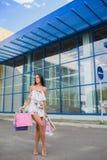 Ouside оглушая, девушка при длинные коричневые волосы стоя с красочными хозяйственными сумками, ходя по магазинам концепция, усме Стоковая Фотография