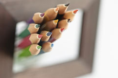 Out of bounds colored Pencils  Royalty Free Stock Image