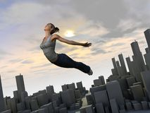 Out of the Box 1. A Girl flying out of her town to a new world - 3d illustration with some painting Stock Photography