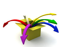 Out of the box. 3d image of colorful arrows jumping out of the box Stock Photography