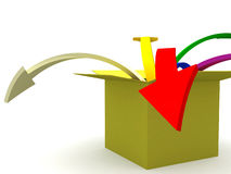 Out of the box. 3d image of colorful arrows jumping out of the box Stock Images