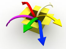 Out of the box. 3d image of colorful arrows jumping out of the box Royalty Free Stock Photos