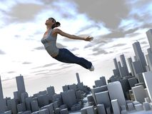 Out of the Box 2. A Girl flying out of her town to a new world - 3d illustration with some painting Stock Photography