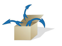 Out of the Box. An illustrated box and several arrows pointing out of it vector illustration