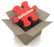 Out of the Box Solution. In the design of information related to abstraction solutions stock illustration