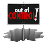 Out of Control Words Warning Sign Uncontrollable Mismanaged Beha Stock Image