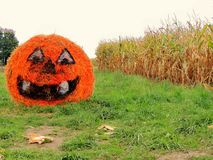 Out in the Country Roll of Straw Pumpkin Royalty Free Stock Images