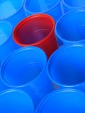 Out of crowd. Disposable empty colorful cups closeup Royalty Free Stock Image