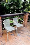 Out door couple of rattan chairs Stock Photography