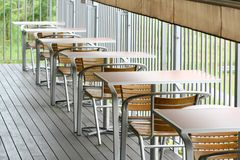 Out door dining tables and chairs. With shelter Stock Photography