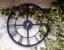 Out door garden clock. Outdoor garden clock with ivy. Shabby chic background Royalty Free Stock Photo