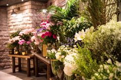 Out of the flower shop stock photography
