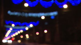 Out of focus Christmas street lights Royalty Free Stock Images