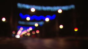 Out of focus Christmas street lights stock footage